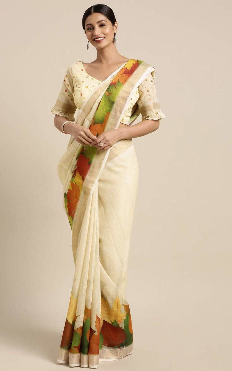 Pale Yellow Linen-Cotton Chinar Leaf Print Saree