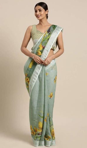 Green Linen-Cotton Floral Print Saree