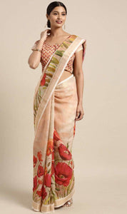 Peach Linen-Cotton Floral Print Saree