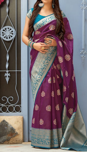 Purple and Blue Kuppadam Silk Saree Buy Online