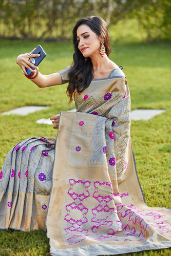 Grey Soft Silk Pattu Saree Buy Online