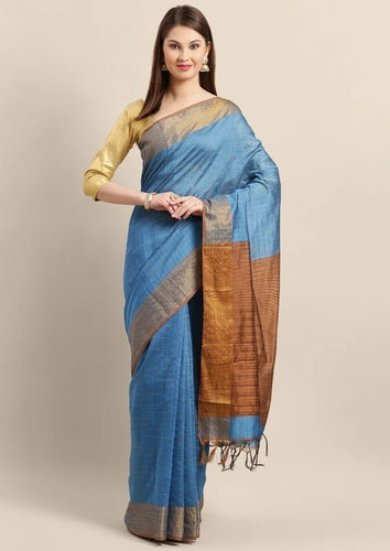 Hand-Loom Cotton Silk Checks Sarees with Zaree Border