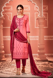 Pink and Maroon Unstitched Suit Set Buy Online