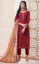 Load image into Gallery viewer, Maroon and Beige Unstitched Suit Set Buy Online