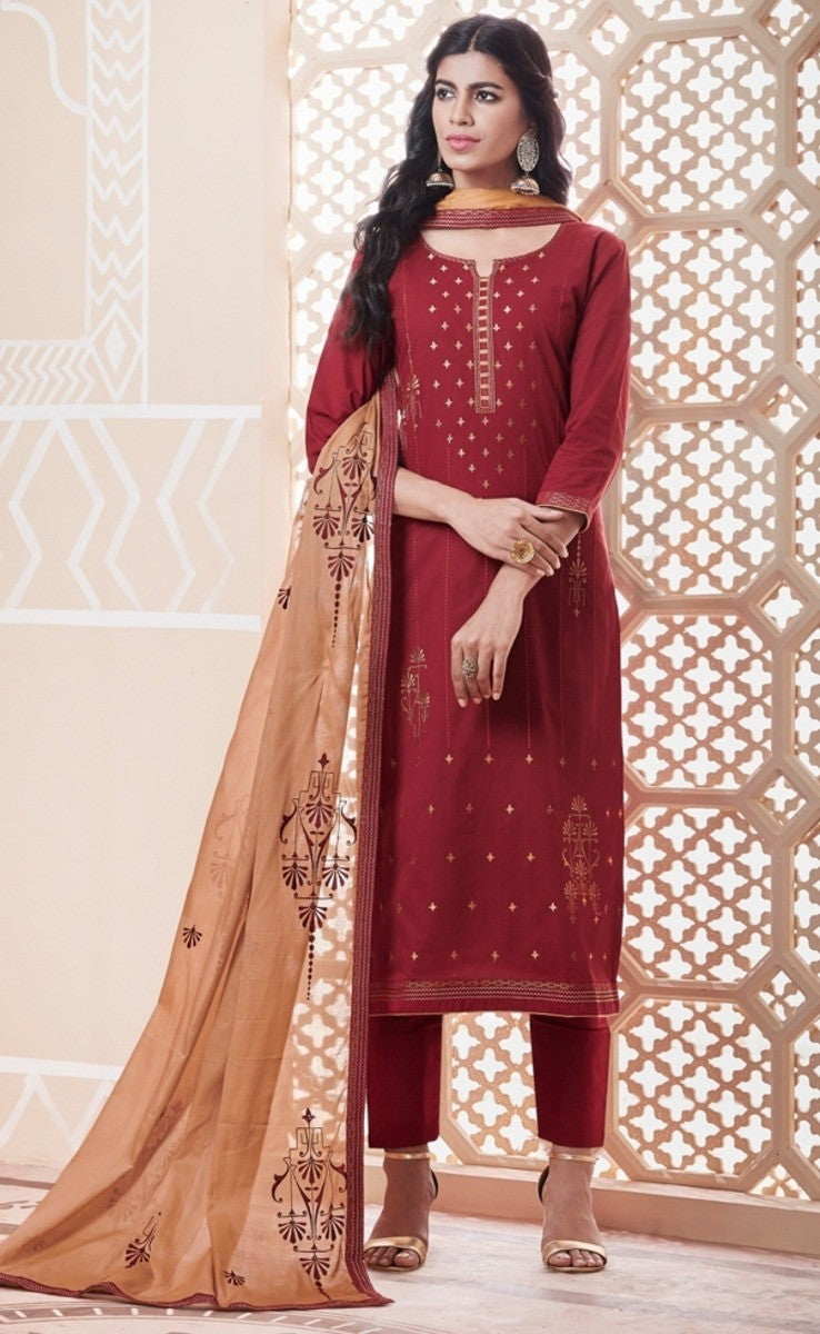 Maroon and Beige Unstitched Suit Set Buy Online