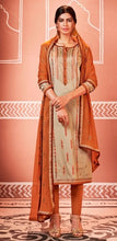Load image into Gallery viewer, Beige and Orange Unstitched Suit Set