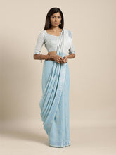 Load image into Gallery viewer, Sky Blue Cotton Linen Saree with Blouse Buy Online