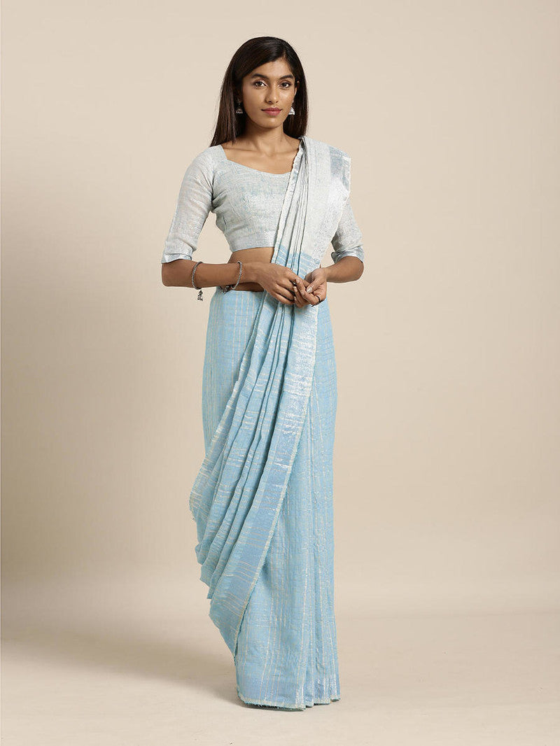 Sky Blue Cotton Linen Saree with Blouse Buy Online