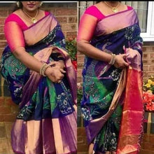 Load image into Gallery viewer, Peacock Design Uppada Handloom Pattu Saree Buy Online