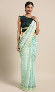 Light Sea Green Linen-Cotton Saree