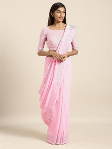 Pink Cotton Linen Saree with Blouse