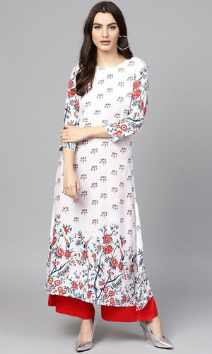 White & Red Printed A-Line Rayon Kurti Buy Online