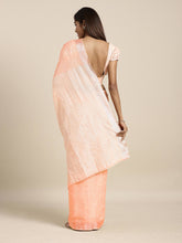 Load image into Gallery viewer, Coral Pink Cotton Linen Saree with Blouse Buy Online