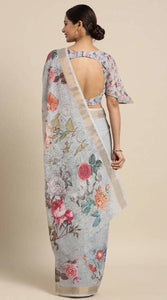 Linen-Cotton Floral Print Saree Buy Online