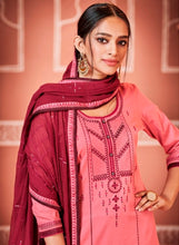 Load image into Gallery viewer, Pink and Maroon Unstitched Suit Set Buy Online