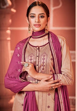 Load image into Gallery viewer, Beige and Purple Unstitched Suit Set Buy Online