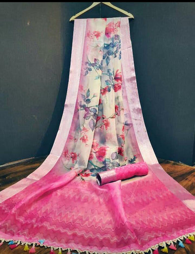 Lilac and Pink Floral Print Organza Saree