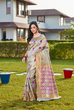 Load image into Gallery viewer, Grey Soft Silk Pattu Saree Buy Online