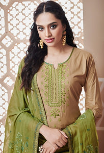Beige and Green Unstitched Suit Set