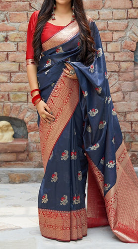 Dark Grey and Red Kuppadam Silk Saree Buy Online