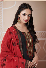 Load image into Gallery viewer, Black and Red Unstitched Suit Set Buy Online
