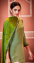 Load image into Gallery viewer, Grey and Green Unstitched Suit Set Buy Online