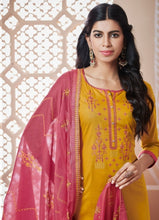 Load image into Gallery viewer, Mustard and Pink Unstitched Suit Set Buy Online