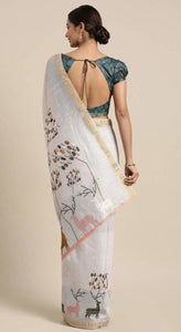 Coastal Blue Linen-Cotton Deer Print Saree