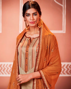 Beige and Orange Unstitched Suit Set