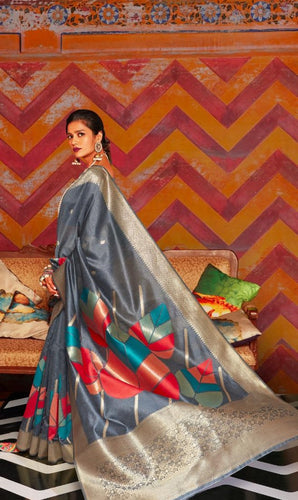 Grey Soft Silk Designer Pattu Saree