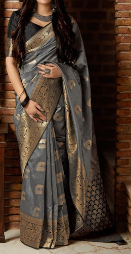 Grey and Black Kuppadam Silk Saree Buy Online
