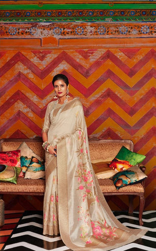 Cream Soft Silk Designer Pattu Saree
