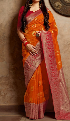 Mustard Orange and Red Kuppadam Silk Saree Buy Online