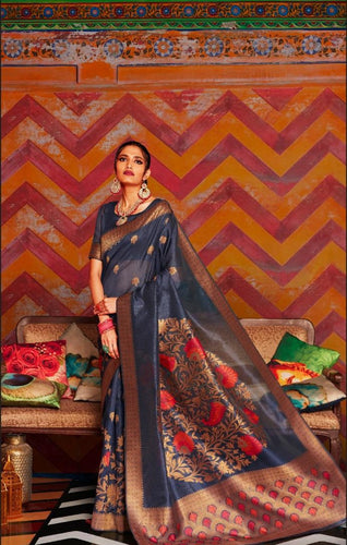 Charcoal Grey Soft Silk Designer Pattu Saree