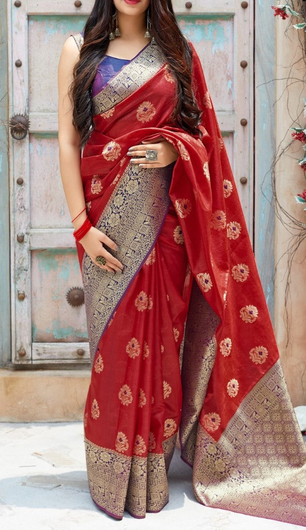 Red and Voilet Kuppadam Silk Saree Buy Online