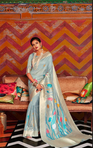Coastal Blue Soft Silk Designer Pattu Saree