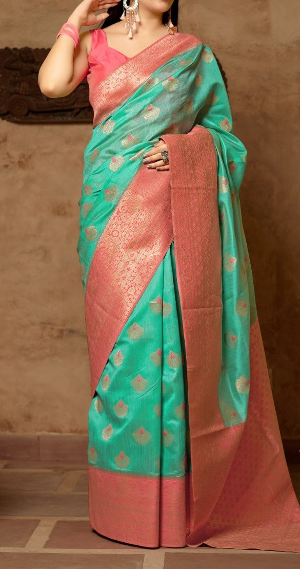 Blue and Blush pink Kuppadam Silk Saree Buy Online