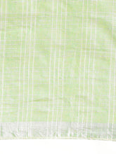 Load image into Gallery viewer, Green Cotton Linen Saree with Blouse Buy Online