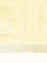 Load image into Gallery viewer, Lemon Yellow Cotton Linen Saree with Blouse Buy Online