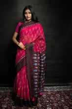 Load image into Gallery viewer, Soft Jute Silk Saree with Simple Temple Border