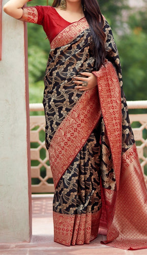 Black and Red Kuppadam Silk Saree Buy Online