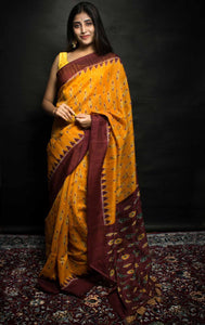 Soft Jute Silk Saree with Simple Temple Border