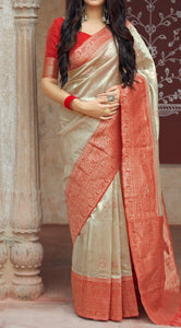 Beige and Red Kuppadam Silk Saree Buy Online
