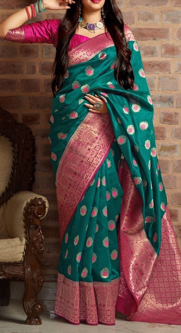 Green and Pink Kuppadam Silk Saree Buy Online