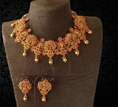 Contemporary Design Lakshmi Necklace with Earrings Buy Online