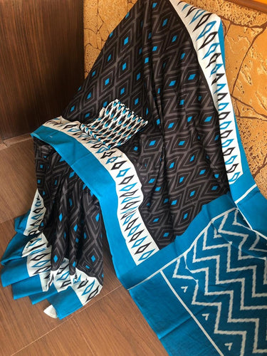 Black and Blue Ikkat Print Designer Cotton Saree with Blouse