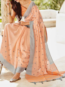 Simple Kutch Work Linen Silk Sarees with Blouse