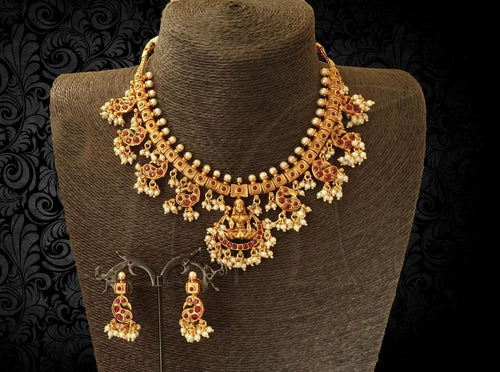 Lakshmi Necklace and Earrings with Pearl work Buy Online
