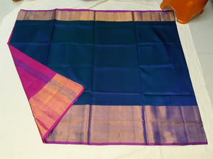 Blue and Pink Plain Uppada Handloom Pattu Saree with Big Border