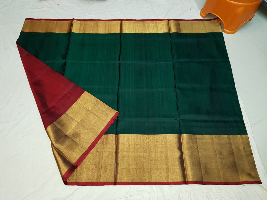 Green Plain Uppada Handloom Pattu Saree with Big Border